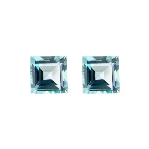 Glitzy Rocks Square 7x7mm 4.3ct TGW Blue Topaz Stones (Set of 2)