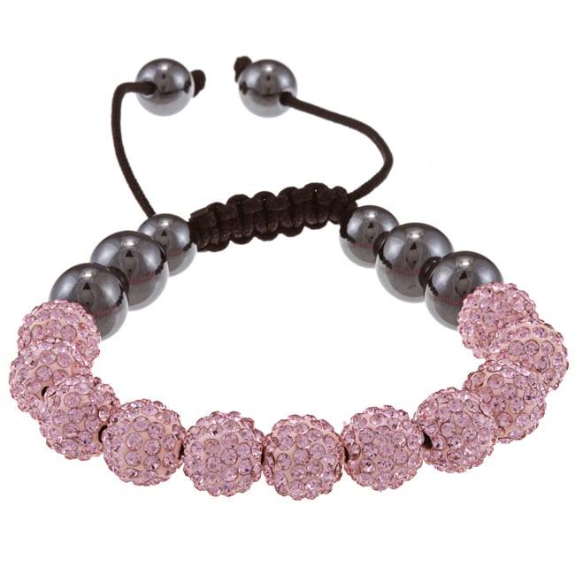 La Preciosa Pink Crystal and Hematite Bead Macrame Bracel...
