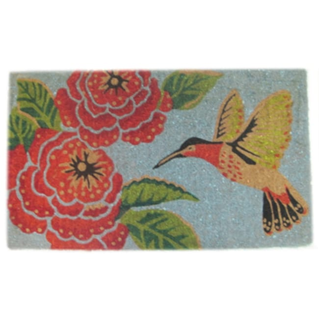 Hummingbird and Flower Door Mat