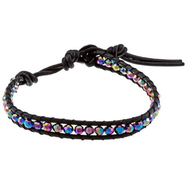 La Preciosa Sterling Silver Rainbow Crystals Leather Wrap Bracelet