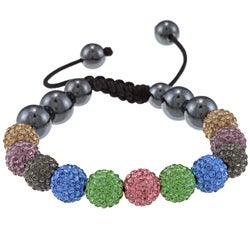 La Preciosa Multicolored Crystal and Hematite Bead Macrame Bracelet