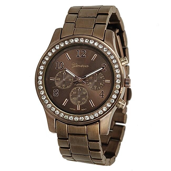 Geneva Platinum Women's Rhinestone Chronograph-Style Brown Link Watch