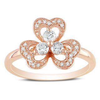 Miadora 14k Rose Gold 3/8ct TDW Diamond Flower Fashion Ring