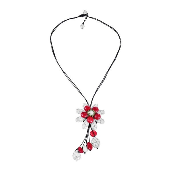 Handmade White Turquoise and Red Coral Floral Necklace (Thailand)