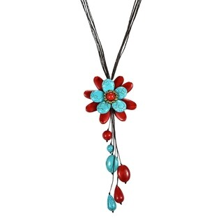 Synthetic Coral Turquoise Floral Wonder Dangle Necklace (Thailand)