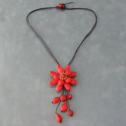 Red Coral Floral Cotton Dangle Necklace (Thailand)