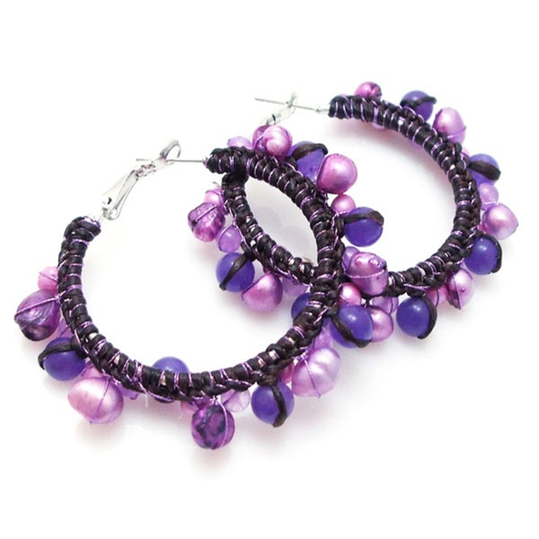 Handmade Amethyst and Pearl Cotton Hoop Earrings (Thailand)