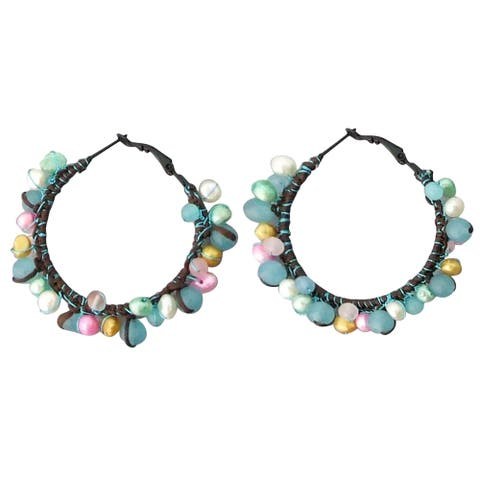 Handmade Festive Multicolor Drizzle Blue Chalcedony-Pearl Cotton Hoop Earrings (Thailand)