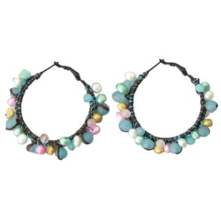 Festive Multicolor Drizzle Blue Chalcedony and Pearl Hoop Earrings (Thailand)
