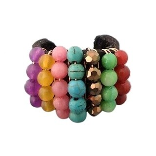 Handmade Color Dazzle Multi Stone Adjustable Leather Ring (Thailand)