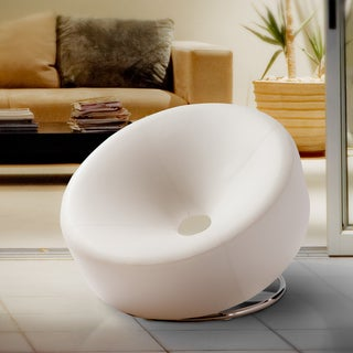 Modern Round White Bonded Leather Accent Chair by Christopher Knight Home