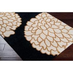 Hand-tufted Contemporary Black/ Imola New Zealand Wool Abstract Rug (8' x 11') - Thumbnail 1