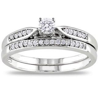 Miadora 10k White Gold 1/3ct TDW White Diamond Bridal Ring Set (G-H, I2-I3)