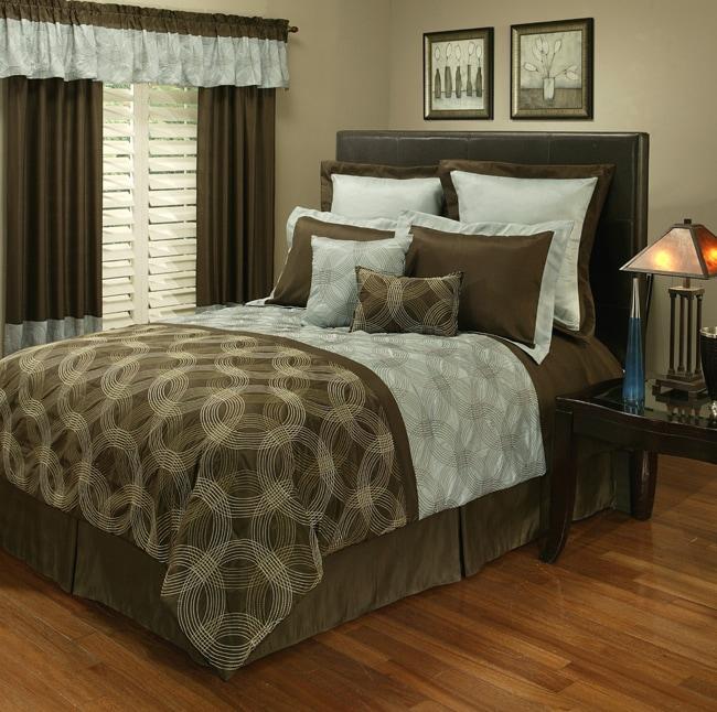 Sherry Kline Circa Print Brown/ Blue 8-piece Queen-size Comforter Set