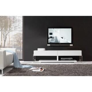 Giovanni White / White Glass Two-drawer Modern TV Stand