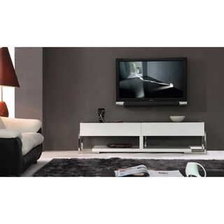 Giovanni White/ Black Two-drawer Modern TV Stand