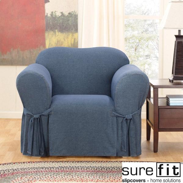 Shop Sure Fit Denim Chair Slipcover Free Shipping Today