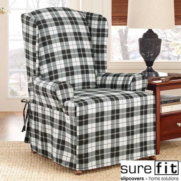 Sure Fit Soft Suede Plaid Wing Chair Slipcover Free