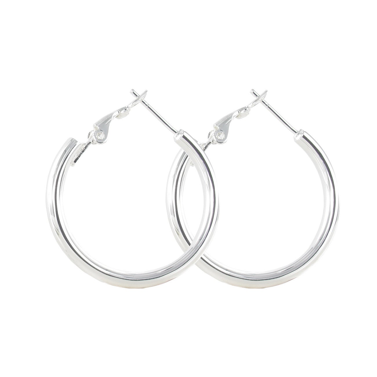 Sunstone Sterling Silver Tube Hoop Earrings