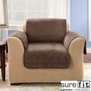 Sure Fit Quilted Suede Deluxe Chocolate Chair Throw Cover
