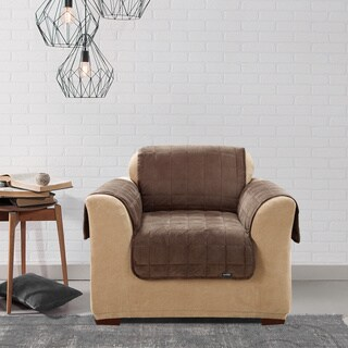 Sure Fit Quilted Suede Deluxe Chocolate Chair Furniture Protector