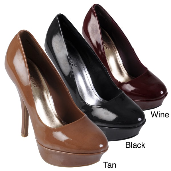 Journee Collection Women's 'Dash' Patent Round Toe Platform Stilettos