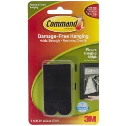 3M Command Black Medium Picture Hanging Strips (Set of 4)