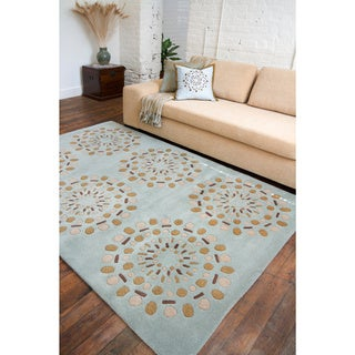 Hand-tufted Contemporary Green Circles Beauty New Zealand Wool Abstract Rug (5' x 8')