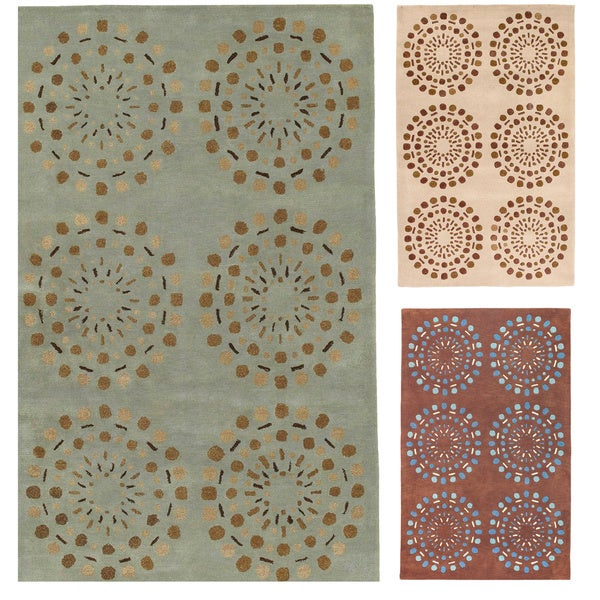 Hand-tufted Contemporary Green Circles Beauty New Zealand Wool Abstract Rug (8' x 11')