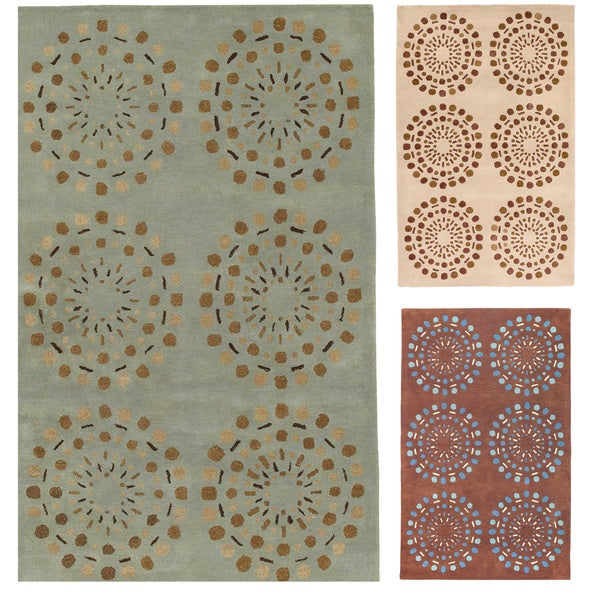 Hand-tufted Contemporary Green Circles Beauty New Zealand Wool Abstract Area Rug