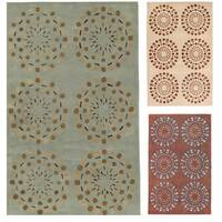 Hand-tufted Contemporary Green Circles Beauty New Zealand Wool Abstract Area Rug (9' x 13')