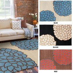 Hand-tufted Contemporary Brown/ Glacier New Zealand Wool Abstract Rug (9' x 13')