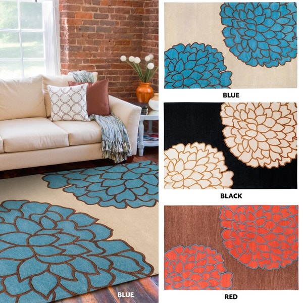 Hand-tufted Contemporary Brown/ Glacier New Zealand Wool Abstract Area Rug - 9' x 13'