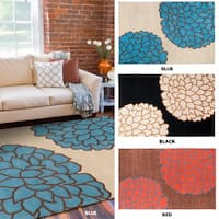 Hand-tufted Contemporary Brown/ Glacier New Zealand Wool Abstract Area Rug