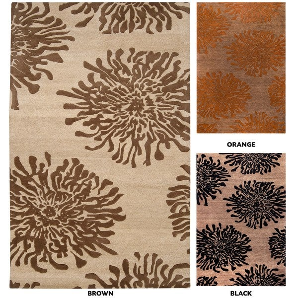 Hand-tufted Contemporary Brown/Orange Mountain New Zealand Wool Abstract Area Rug - 9' x 13'