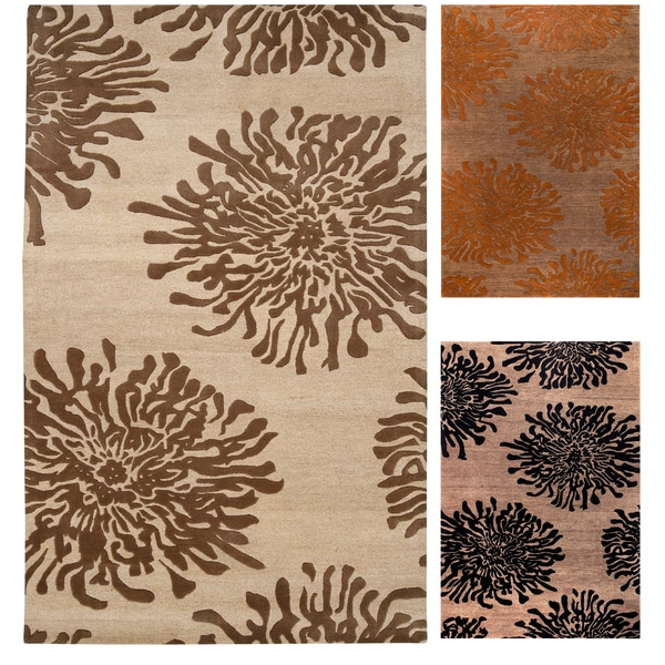 Hand-tufted Contemporary Brown/Orange Mountain New Zealand Wool Abstract Area Rug