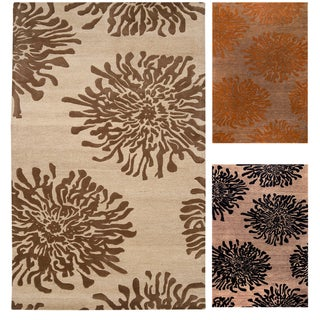 Hand-tufted Contemporary Brown/Orange Mountain New Zealand Wool Abstract Rug (3'3 x 5'3)
