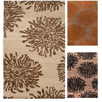 Hand-tufted Contemporary Brown/Orange Mountain New Zealand Wool Abstract Area Rug - 5' x 8'