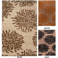 Hand-tufted Contemporary Brown/Orange Mountain New Zealand Wool Abstract Area Rug - 8' x 11'