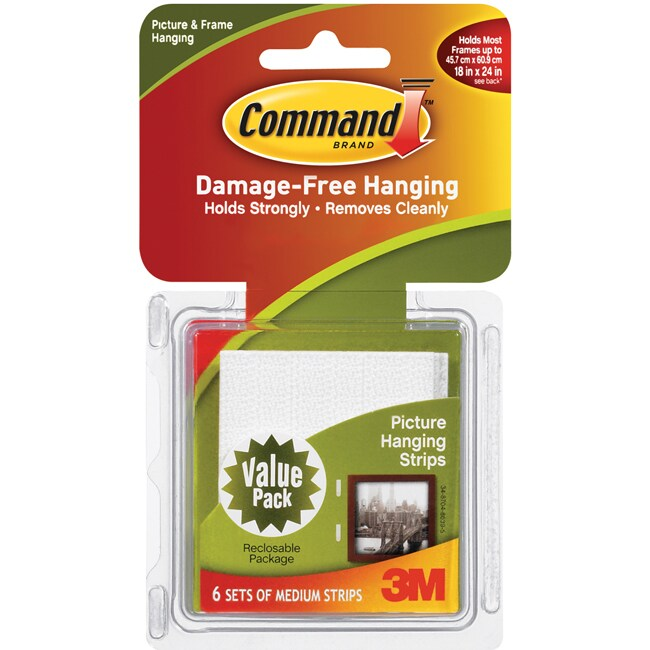 3M Command White Medium Picture Hanging Strips (Pack of 6)