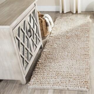 Safavieh Handmade Aspen Shag White/ Beige Wool Runner (2'3 x 9')