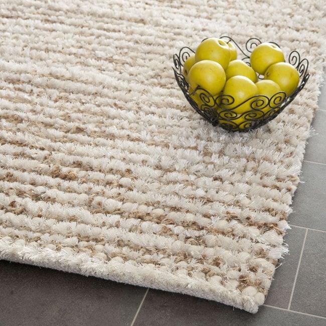 Safavieh Handmade Aspen Shag White/ Beige Wool Area Rug (5' x 8')