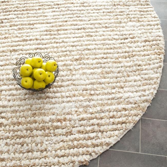 Safavieh Handmade Aspen Shag White/ Beige Wool Rug (7' Round)