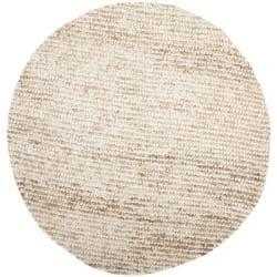 Safavieh Handmade Aspen Shag White/ Beige Wool Rug (7' Round) - Thumbnail 1