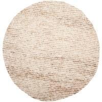 Safavieh Handmade Aspen Shag White/ Beige Wool Rug - 7' x 7' Round