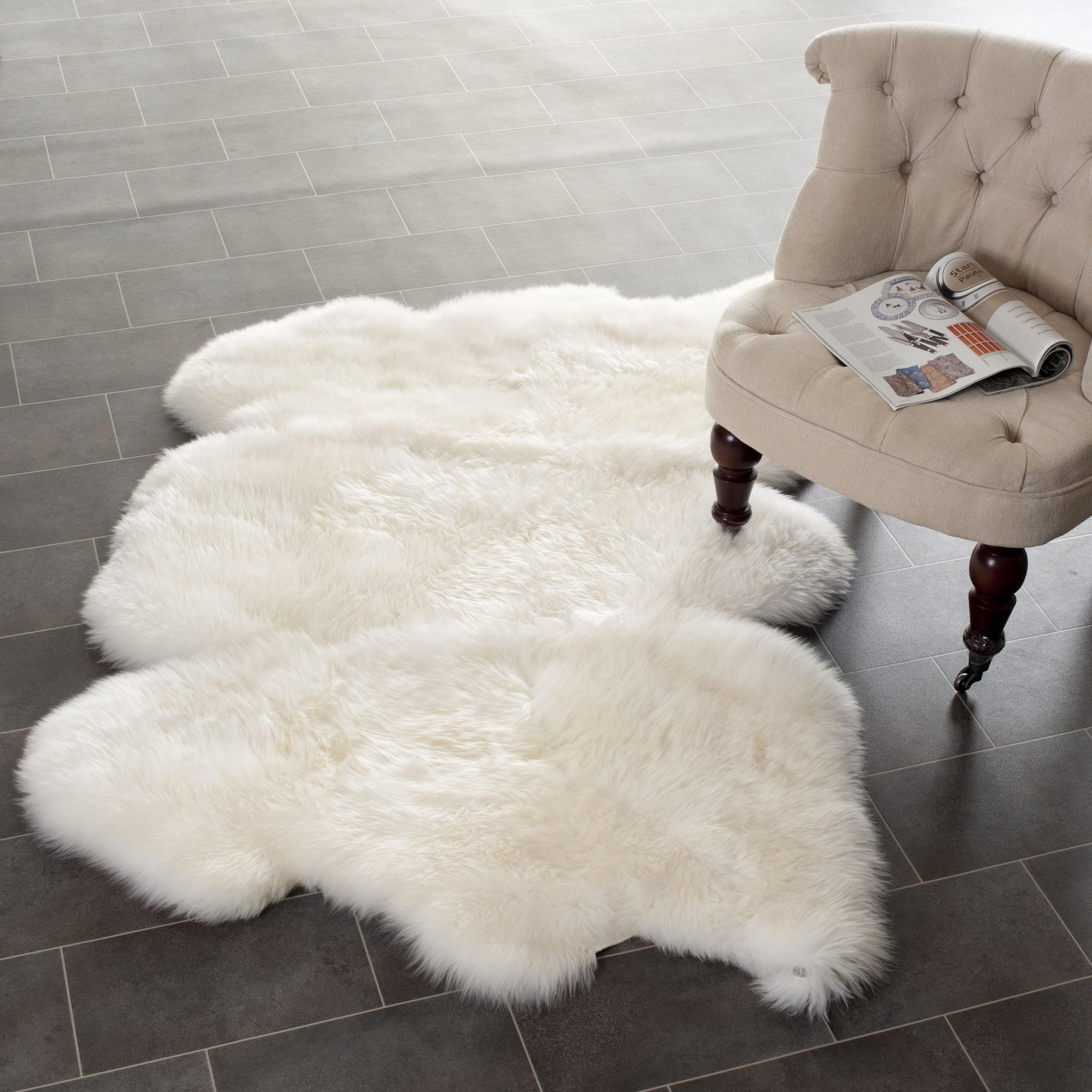 Safavieh Prairie Natural Pelt Sheepskin Wool White Shag Rug (3' x 5')