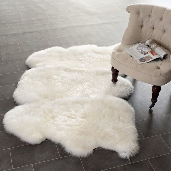 safavieh prairie natural pelt sheepskin wool white shag rug 3 39 x 5 39 free shipping today. Black Bedroom Furniture Sets. Home Design Ideas
