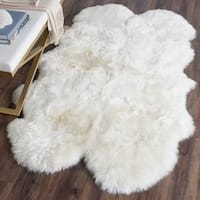 "Safavieh Prairie Natural Pelt Sheepskin Wool White Shag Rug - 3'-7"" X 5'-11"""