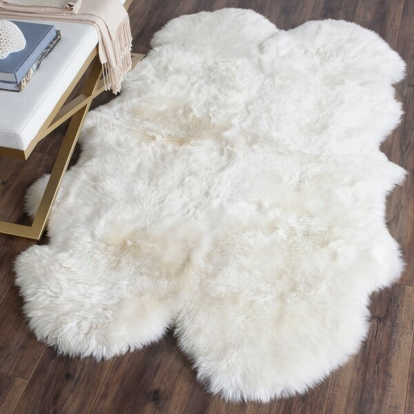 H Safavieh Prairie Natural Pelt Sheepskin Wool White Shag Rug  3u0026x27