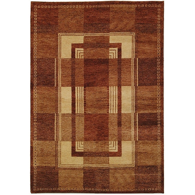 Safavieh Hand-knotted Selaro Grids Brown/ Beige Wool Rug (3' x 5') - Thumbnail 0